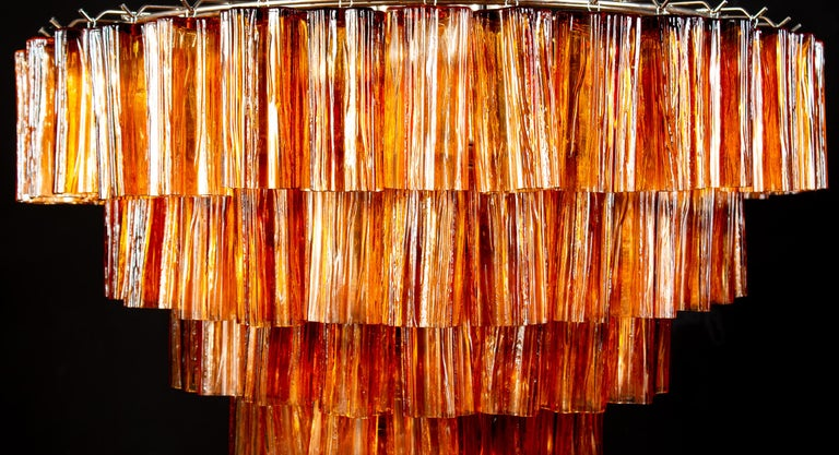 Blown Glass Venini Modern Gold Amber Color Murano Glass Chandelier or Flushmount, 1970 For Sale