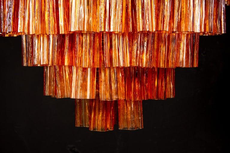 Venini Modern Gold Amber Color Murano Glass Chandelier or Flushmount, 1970 For Sale 1