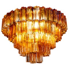 Venini Modern Gold Amber Color Murano Glass Chandelier or Flushmount, 1970