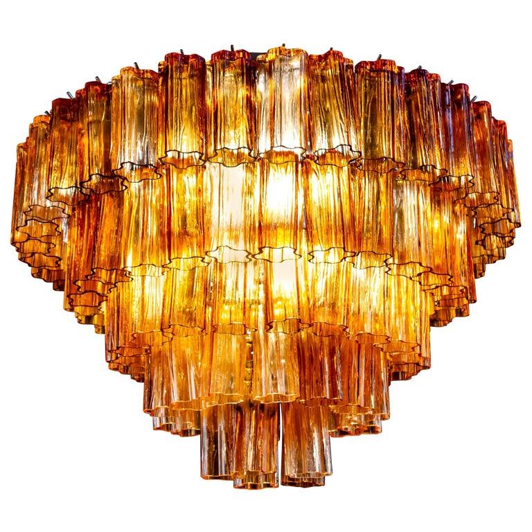 Venini Modern Gold Amber Color Murano Glass Chandelier or Flushmount, 1970 For Sale