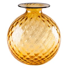 Venini Monofiore Balloton Medium Vase in Amber Murano Glass