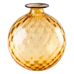 Venini Monofiore Balloton Small Vase in Amber Murano Glass
