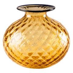 Venini Monofiore Balloton Vase in Amber Murano Glass