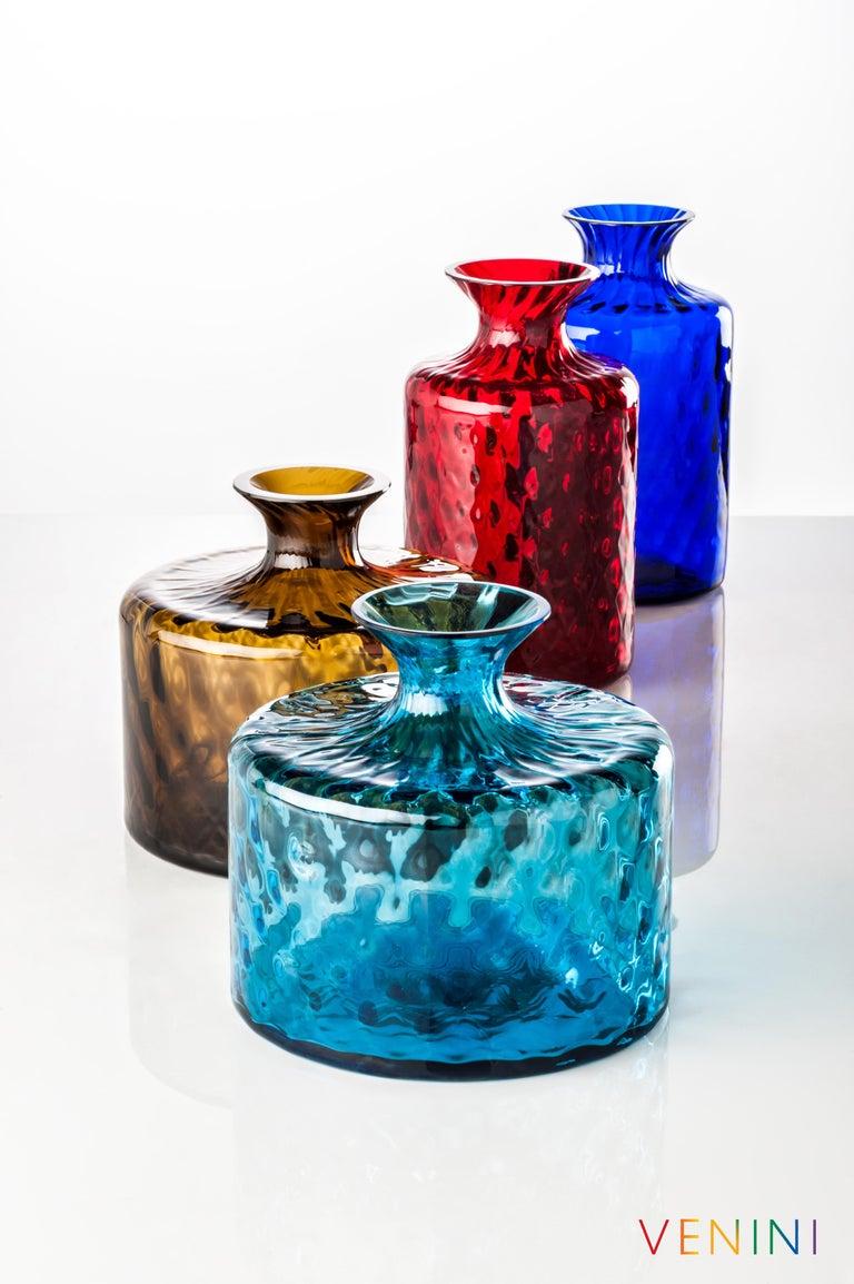 Italian Venini Monofiore Carnevale Tall Glass Vase in Red For Sale