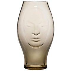 Venini Murana Face Glass Vase in Straw by Fabio