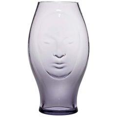 Venini Murana Face Glass Vase in Wistaria by Fabio