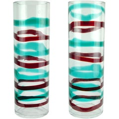 Venini Murano 2003 Signed a Fasce Red Green Italian Art Glass Cylinder Vases