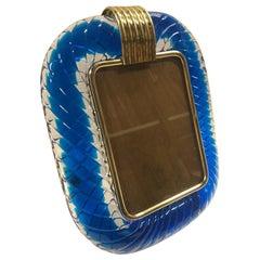 Venini Murano Blown Blue Glass Picture Frame, 1950