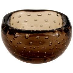 Carlo Scarpa for Venini Murano Bulicante Small Bowl Amber Glass
