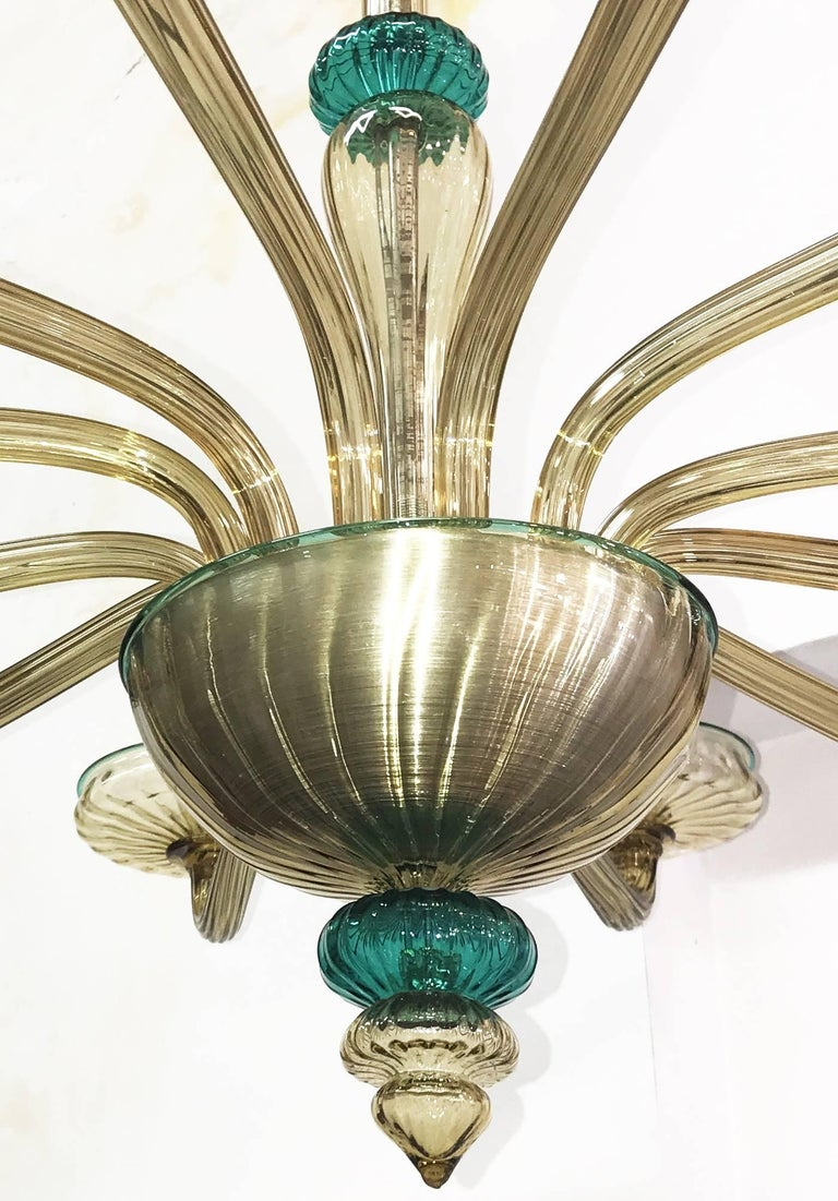 Venini Murano Chandelier Amber and Emerald Hand Blown Glass, 1960 For Sale 4