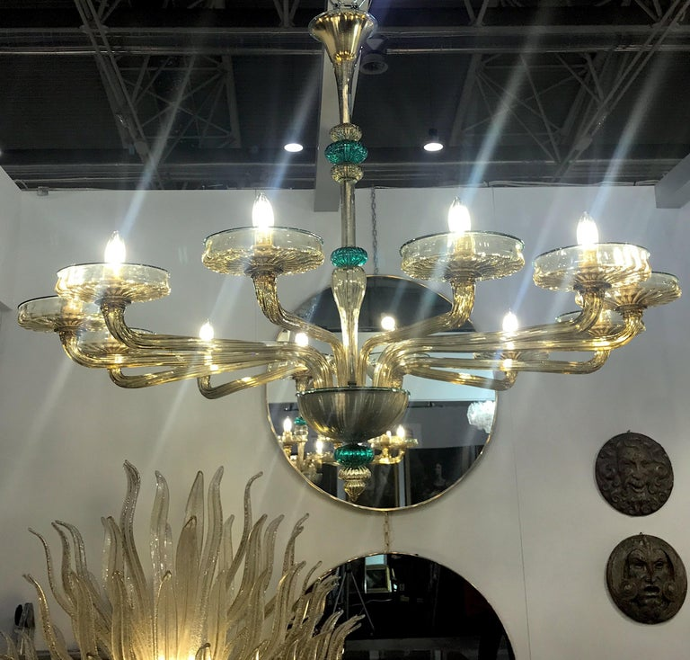 Venini Murano Chandelier Amber and Emerald Hand Blown Glass, 1960 For Sale 6