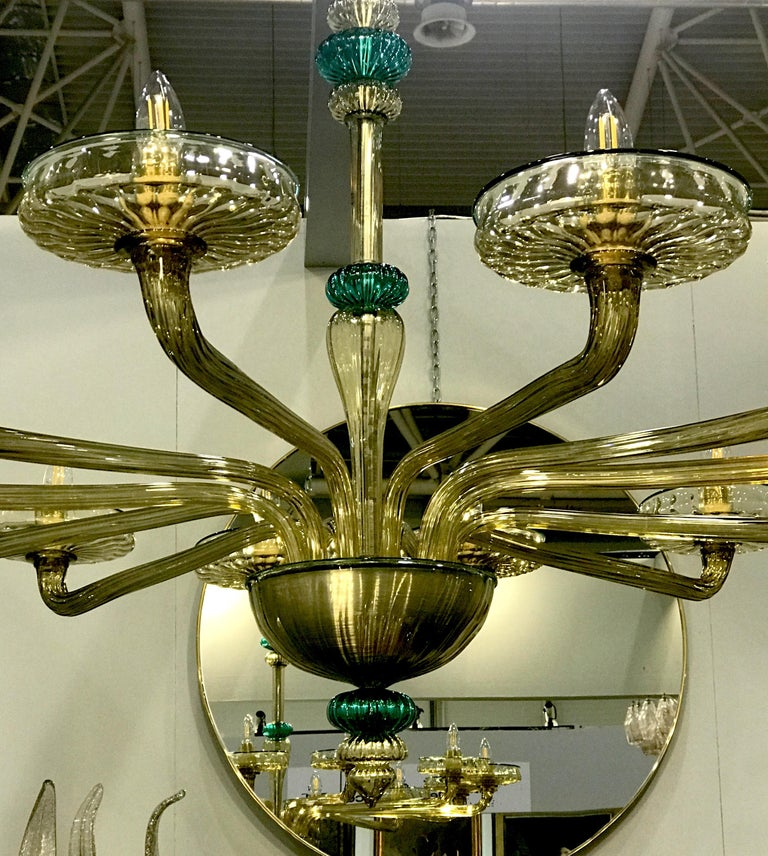 Venini Murano Chandelier Amber and Emerald Hand Blown Glass, 1960 For Sale 8