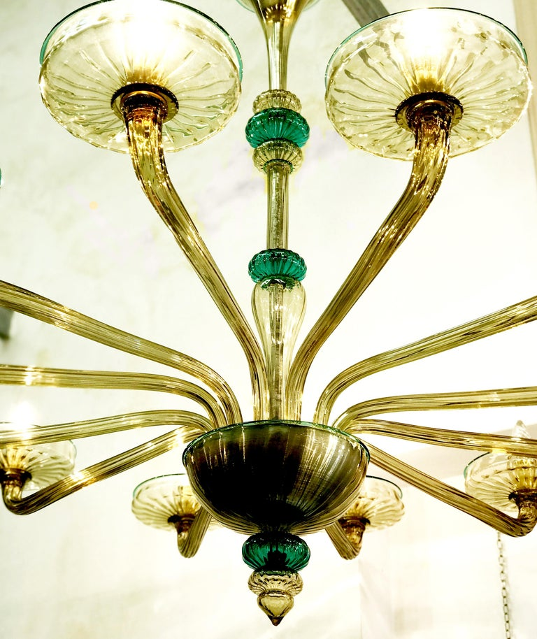 Venini Murano Chandelier Amber and Emerald Hand Blown Glass, 1960 For Sale 9