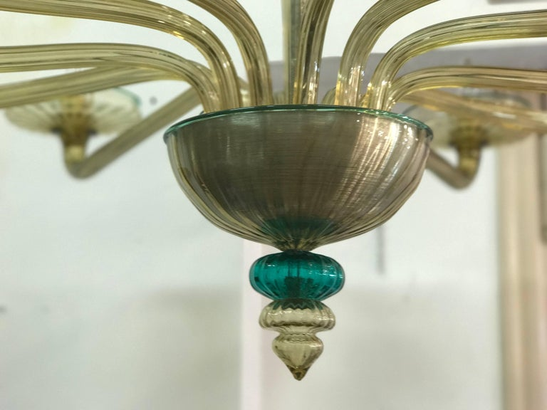 Venini Murano Chandelier Amber and Emerald Hand Blown Glass, 1960 For Sale 1