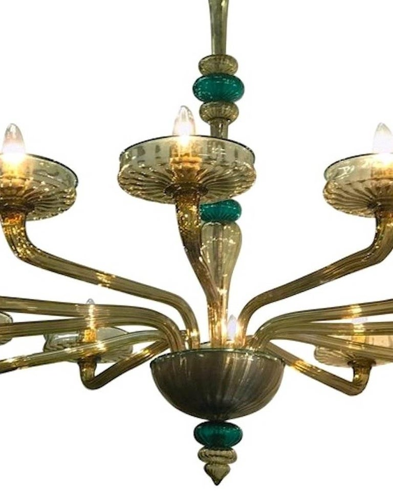 Venini Murano Chandelier Amber and Emerald Hand Blown Glass, 1960 For Sale 2