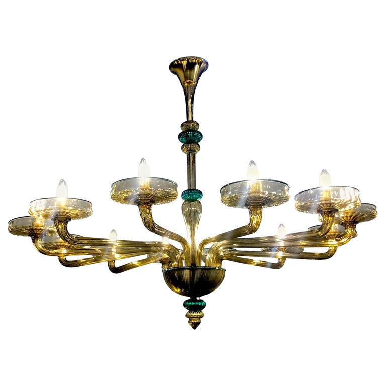 Venini Murano Chandelier Amber and Emerald Hand Blown Glass, 1960 For Sale