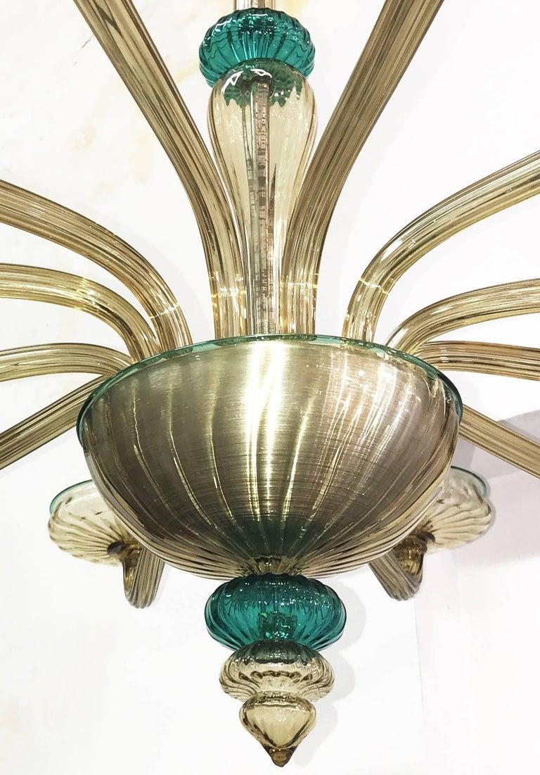Venini Murano Chandelier Amber and Emerald Handblown Glass, 1960 For Sale 3