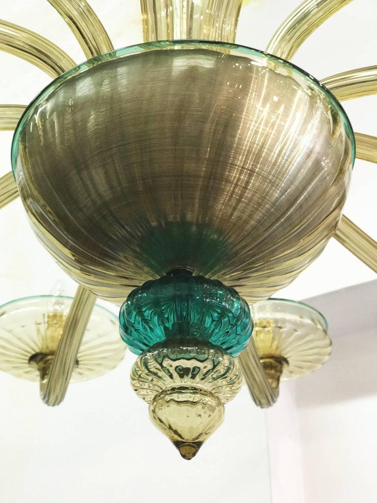 Venini Murano Chandelier Amber and Emerald Handblown Glass, 1960 For Sale 4