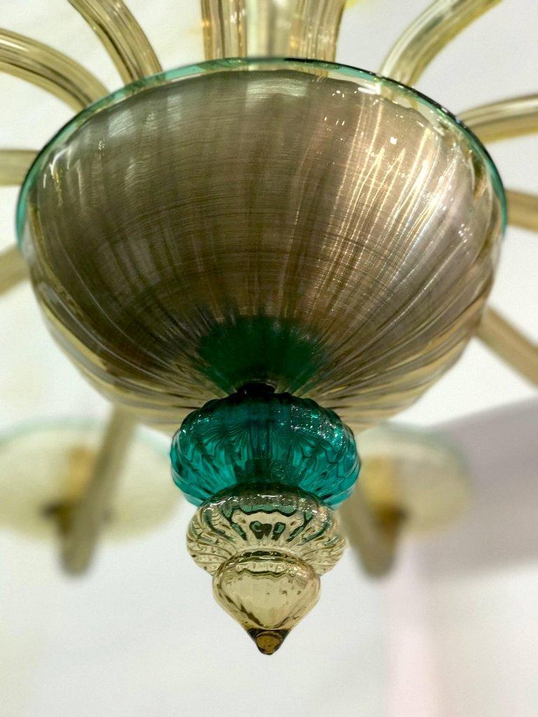 Venini Murano Chandelier Amber and Emerald Handblown Glass, 1960 For Sale 9