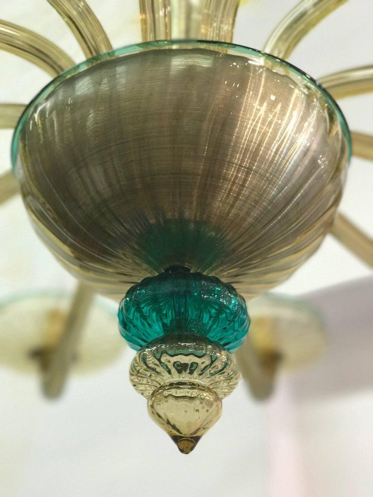 Mid-Century Modern Venini Murano Chandelier Amber and Emerald Handblown Glass, 1960 For Sale