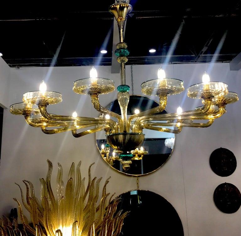 Italian Venini Murano Chandelier Amber and Emerald Handblown Glass, 1960 For Sale