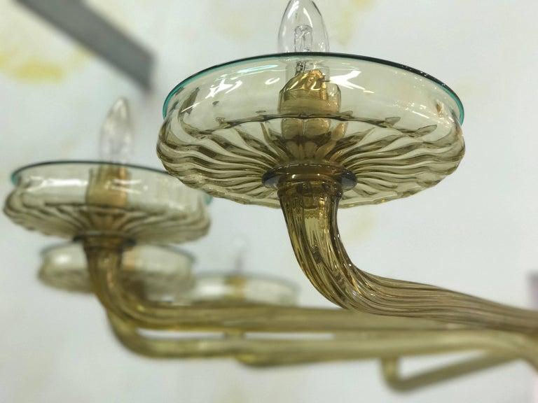 Mid-20th Century Venini Murano Chandelier Amber and Emerald Handblown Glass, 1960 For Sale