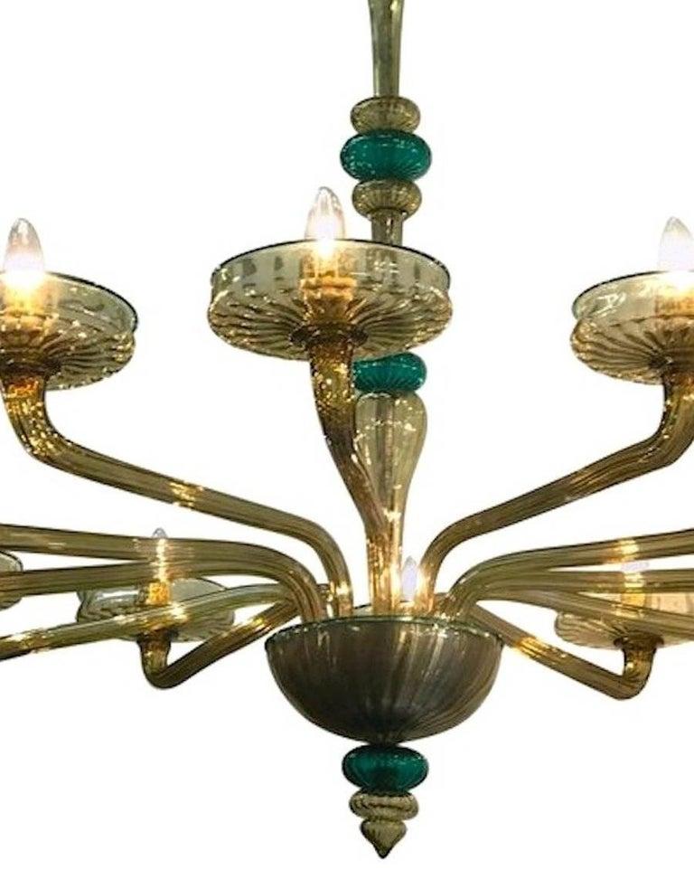Venini Murano Chandelier Amber and Emerald Handblown Glass, 1960 For Sale 1