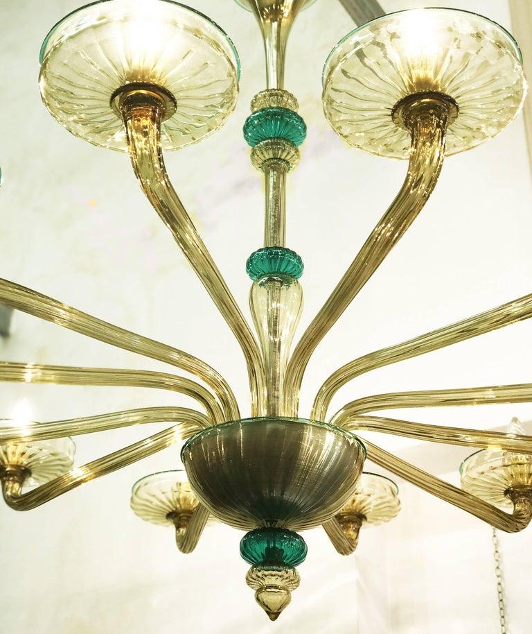 Venini Murano Chandelier Amber and Emerald Handblown Glass, 1960 For Sale 2