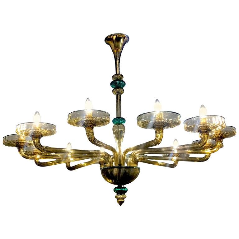 Venini Murano Chandelier Amber and Emerald Handblown Glass, 1960 For Sale