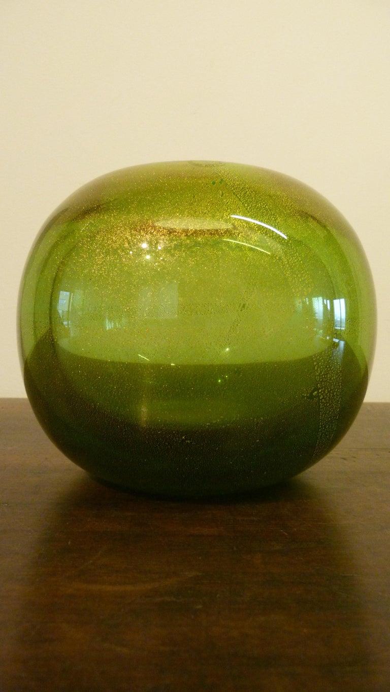 Italian Venini Murano Circular Vase by Laura Diaz de Santillana, Italia, 1985 For Sale