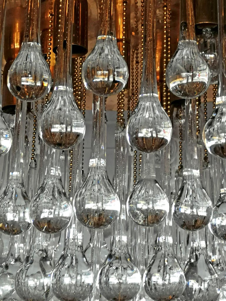German Venini Murano Crystal Drop Waterfall Hollywood Regency 10-Light Gilt Chandelier For Sale