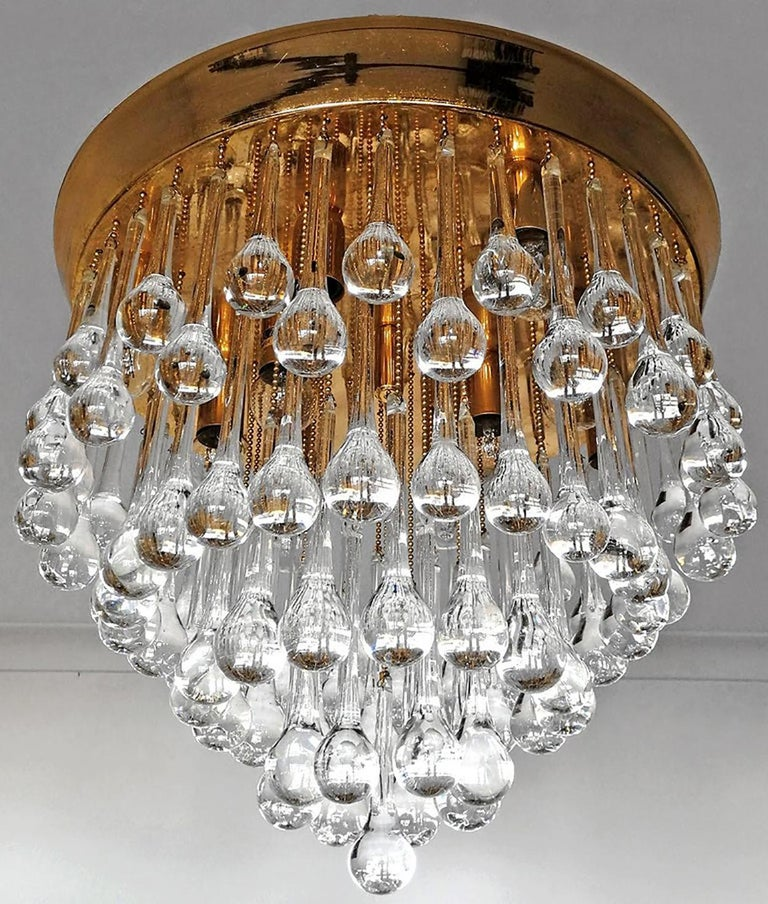 Venini Murano Crystal Drop Waterfall Hollywood Regency 10-Light Gilt Chandelier In Good Condition For Sale In Coimbra, PT
