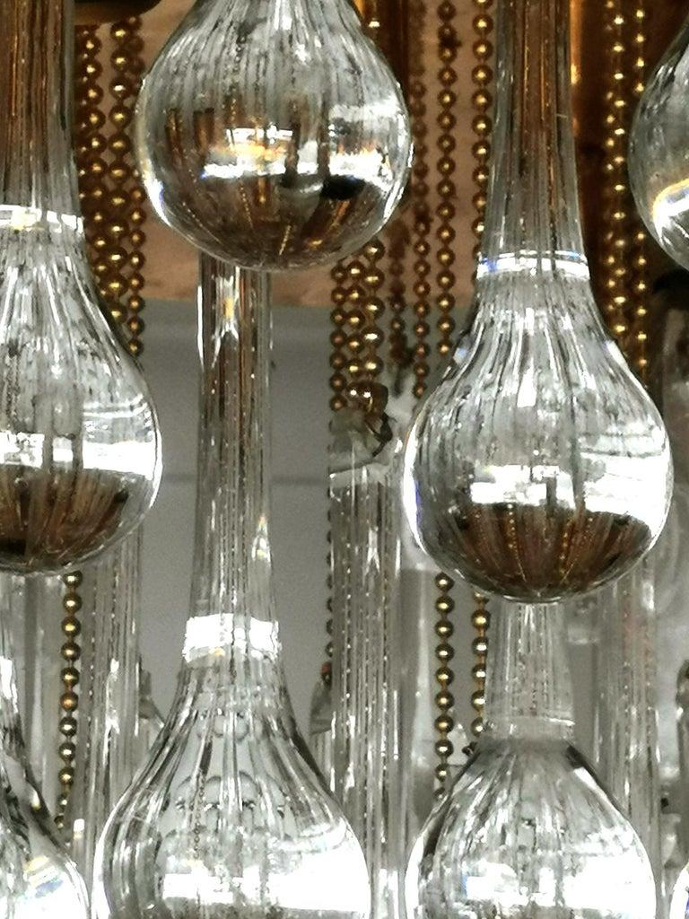 20th Century Venini Murano Crystal Drop Waterfall Hollywood Regency 10-Light Gilt Chandelier For Sale