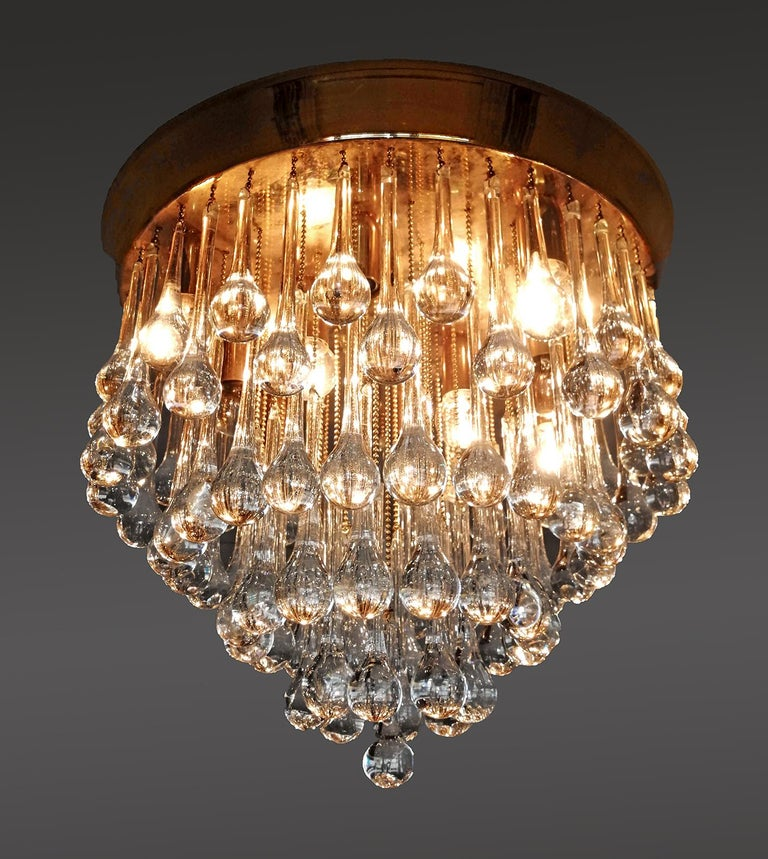 Venini Murano Crystal Drop Waterfall Hollywood Regency 10-Light Gilt Chandelier For Sale 1