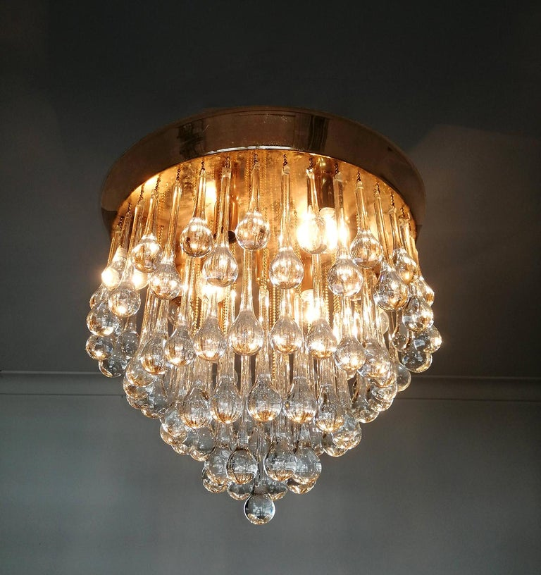 Venini Murano Crystal Drop Waterfall Hollywood Regency 10-Light Gilt Chandelier For Sale 2