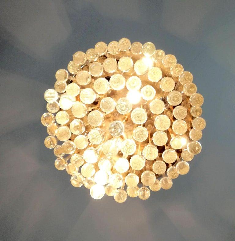 Venini Murano Crystal Drop Waterfall Hollywood Regency 10-Light Gilt Chandelier For Sale 3