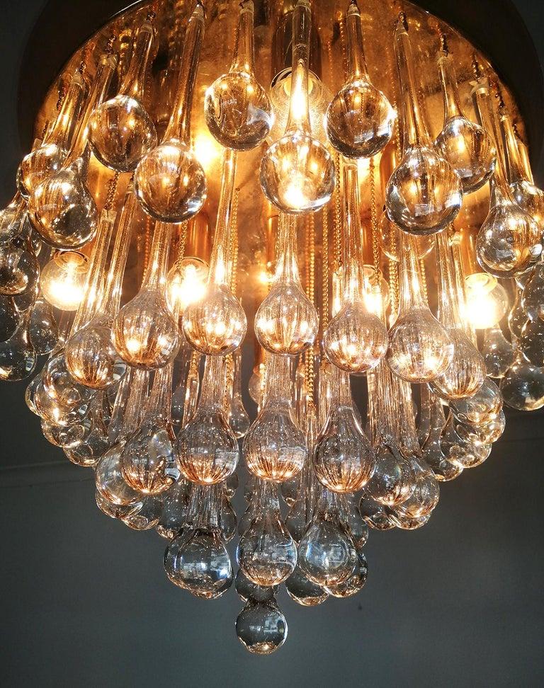 Venini Murano Crystal Drop Waterfall Hollywood Regency 10-Light Gilt Chandelier For Sale 4