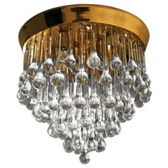 Venini Murano Crystal Drop Waterfall Hollywood Regency 10-Light Gilt Chandelier