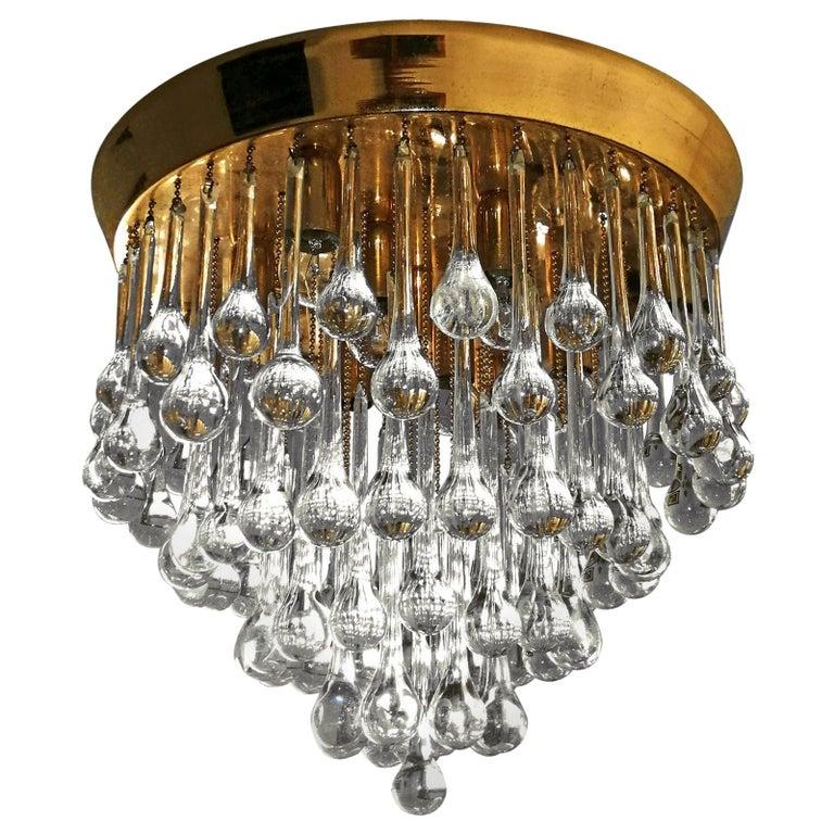 Venini Murano Crystal Drop Waterfall Hollywood Regency 10-Light Gilt Chandelier For Sale