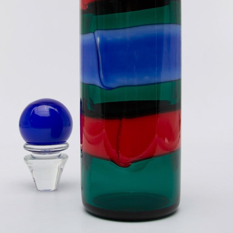 Mid-Century Modern Venini Murano Fulvio Bianconi Glass Bottle Red Green Blue with Stopper For Sale