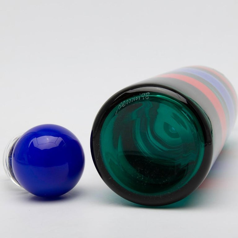 Italian Venini Murano Fulvio Bianconi Glass Bottle Red Green Blue with Stopper For Sale
