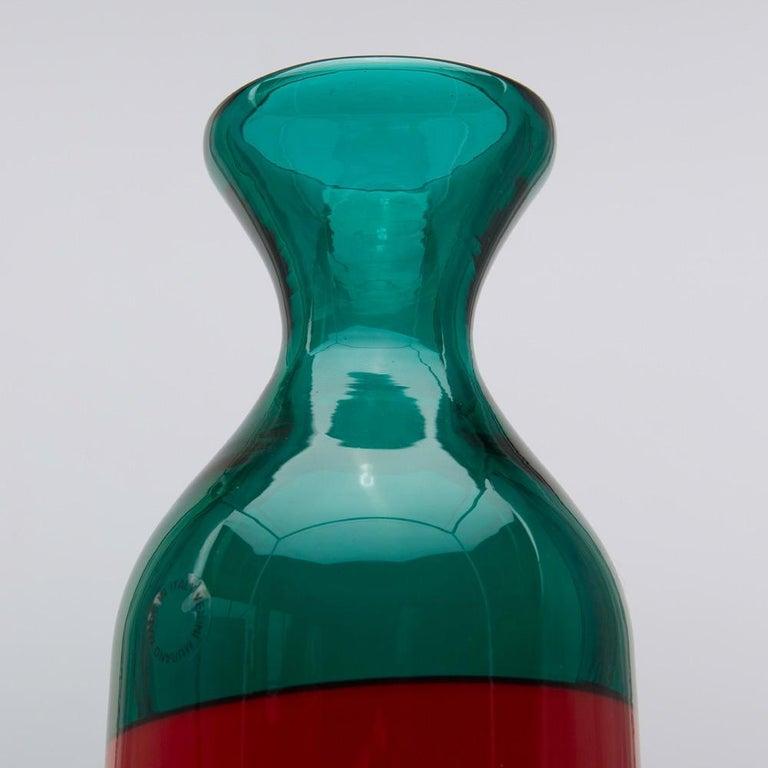 Mid-20th Century Venini Murano Fulvio Bianconi Glass Bottle Red Green Blue with Stopper For Sale