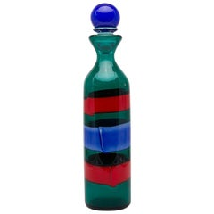 Venini Murano Fulvio Bianconi Glass Bottle Red Green Blue with Stopper