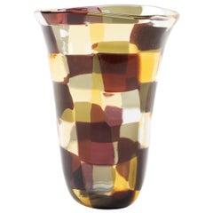 """Venini Murano Fulvio Bianconi Glass Vase, """"Pezzato"""" Technique, """"Istanbul"""" Color"""