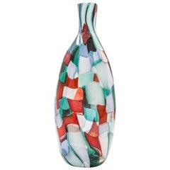 Venini Murano Fulvio Bianconi Glass Vase, Technique Pezzato, Arlecchino Color