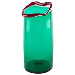 Venini Murano Fulvio Bianconi Sorriso 'Smile' Mouth Blown Vase, Green Color