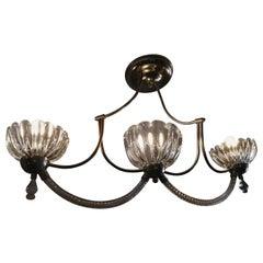 Venini Murano Glass and Brass Three Light Chandelier