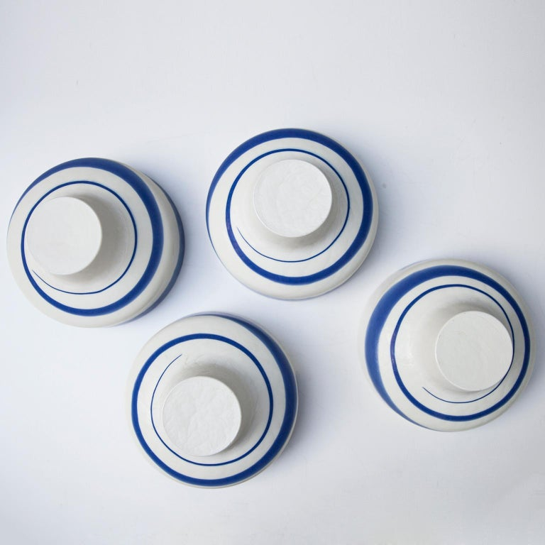 Venini Murano Glass Bowl Blue White Hotel Des Bains, Venice, 1950s In Excellent Condition For Sale In Munich, DE