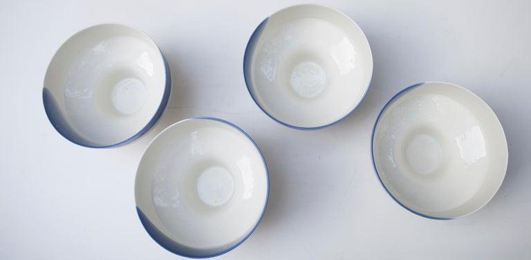 Mid-20th Century Venini Murano Glass Bowl Blue White Hotel Des Bains, Venice, 1950s For Sale