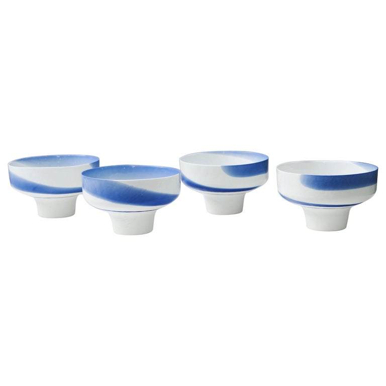 Venini Murano Glass Bowl Blue White Hotel Des Bains, Venice, 1950s For Sale